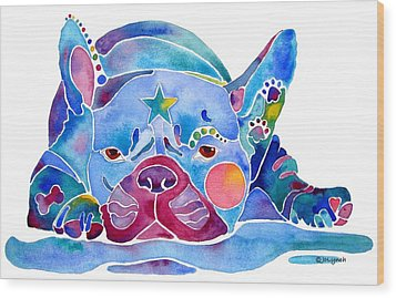 Whimzical French Bulldog  Wood Print by Jo Lynch