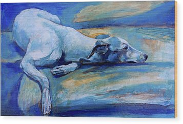 Whippet-effects Of Gravity-6 Wood Print by Derrick Higgins