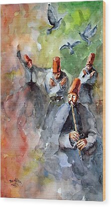 Whirling Dervishes And Pigeons         Wood Print by Faruk Koksal