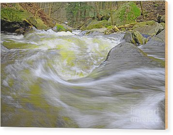 Whirlpool In Forest Wood Print by Charline Xia