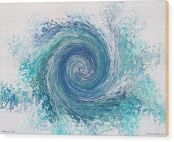 Whirlwind In Blue Wood Print