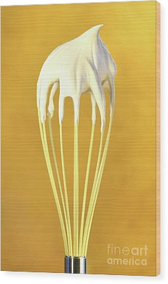 Whisk With Whip Cream On Top Wood Print by Sandra Cunningham