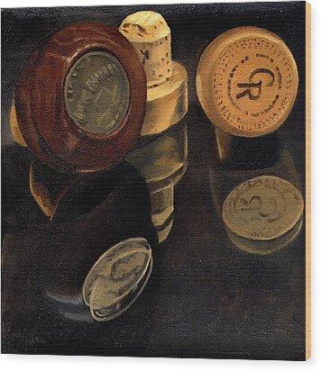 Whiskey Corks Wood Print