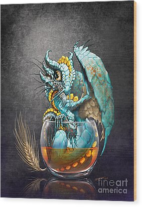 Whiskey Dragon Wood Print by Stanley Morrison