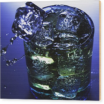Wood Print featuring the photograph Whiskey Splash by John Hoey