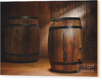 Whisky Barrel Wood Print by Olivier Le Queinec