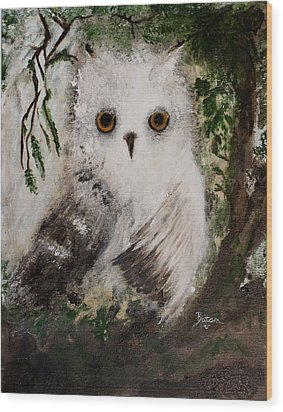 Wood Print featuring the painting Whisper The Snowy Owl by Barbie Batson