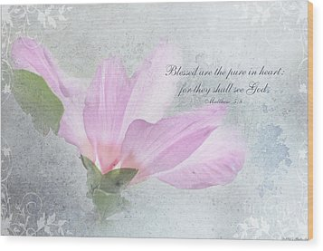 Whisper To Me With Verse Wood Print by Debbie Portwood