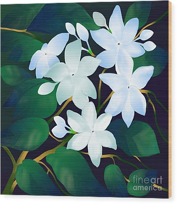 Wood Print featuring the digital art Whispering Jasmines by Latha Gokuldas Panicker