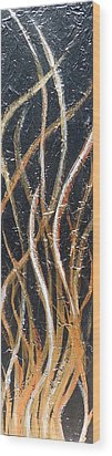 Whispering Reeds Abstract Triptych Paintings Wood Print by Holly Anderson