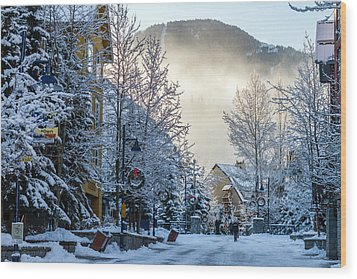 Whistler Village On A Sunny Winter Day Wood Print by Pierre Leclerc Photography
