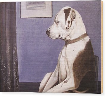 Wood Print featuring the painting Whistler's Mutt-er by Laura Aceto