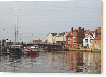 Whitby Harbour Wood Print by Jane McIlroy