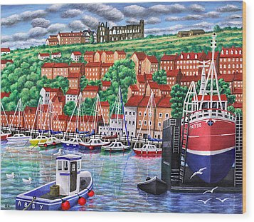 Whitby Harbour Wood Print by Ronald Haber