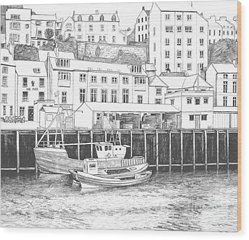 Whitby Harbour Wood Print by Shirley Miller