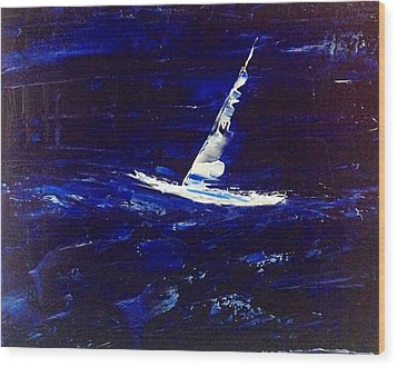 White Boat - Dark Sea And Sky Wood Print