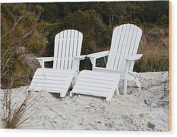 White Adirondack Chairs In The Sand Wood Print by Thomas Marchessault