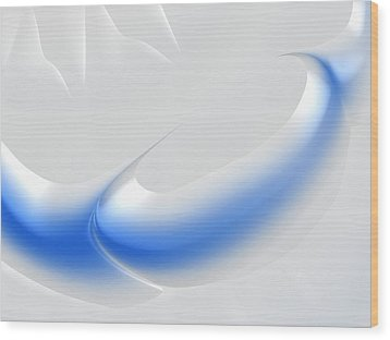 White And Blue Abstract Art Decorative Winter Color Theme Wood Print by Matthias Hauser