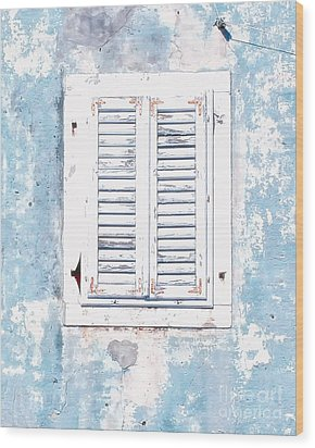 White And Blue Window Wood Print