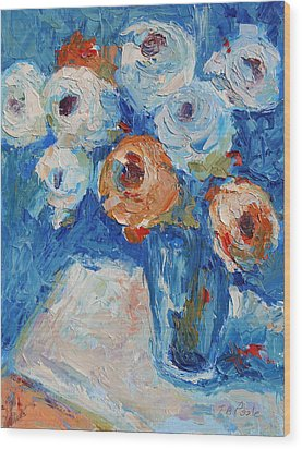 White And Orange Roses In A Sea Of Blue Wood Print