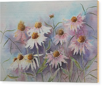 White And Pink Coneflowers Wood Print