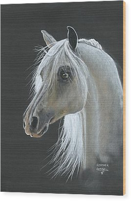 White Arabian Wood Print by Heather Gessell