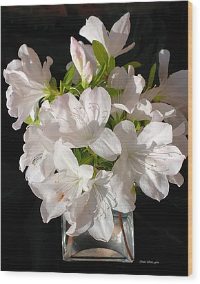 White Azalea Bouquet In Glass Vase Wood Print by Connie Fox