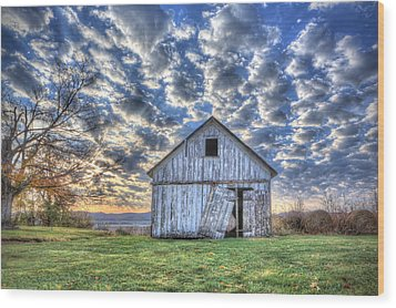 Wood Print featuring the photograph White Barn At Sunrise by Jaki Miller