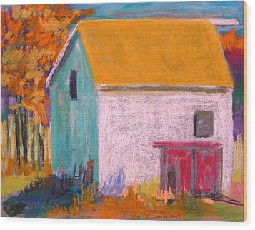 Wood Print featuring the painting White Barn by John Williams