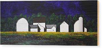 Wood Print featuring the painting White Barns by William Renzulli