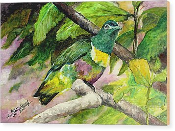 Wood Print featuring the painting White-bibbed Fruit Dove  by Jason Sentuf
