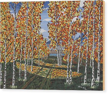 White Birch Reservoir  Wood Print