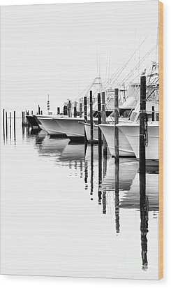 White Boats II - Outer Banks Bw Wood Print by Dan Carmichael