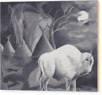 White Buffalo Wood Print