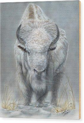 White Buffalo Wood Print