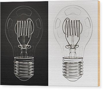 White Bulb Black Bulb Wood Print by Scott Norris