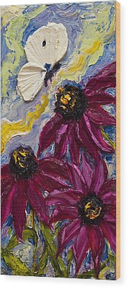 White Butterfly And Purple Flowers Wood Print by Paris Wyatt Llanso
