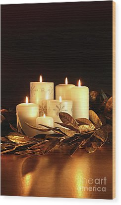 White Candles With Gold Leaf Garland  Wood Print by Sandra Cunningham