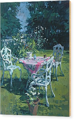 White Chairs At Belchester Wood Print by Susan Ryder