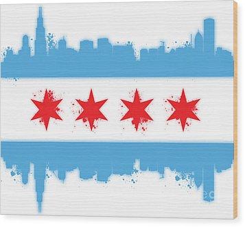 White Chicago Flag Wood Print