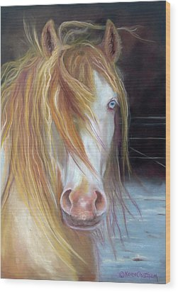Wood Print featuring the painting White Chocolate Stallion by Karen Kennedy Chatham