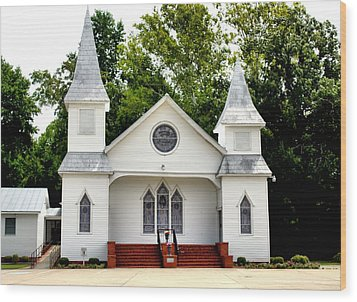 White Church Building Wood Print by Carolyn Ricks