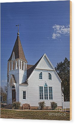 White Church Wood Print by Elena Nosyreva