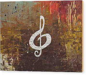 White Clef Wood Print