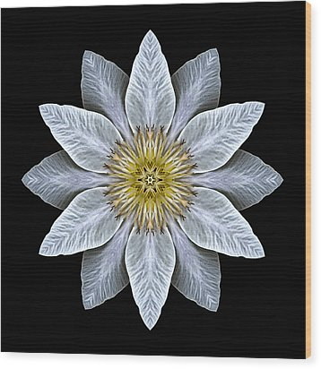 White Clematis Flower Mandala Wood Print