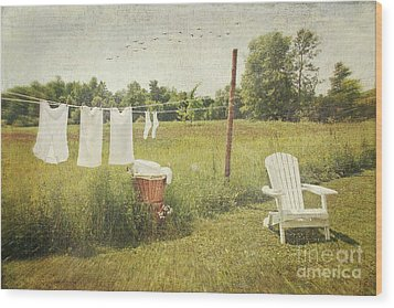 White Cotton Clothes Drying On A Wash Line  Wood Print by Sandra Cunningham