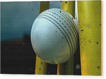 White Cricket Ball And Wickets Wood Print