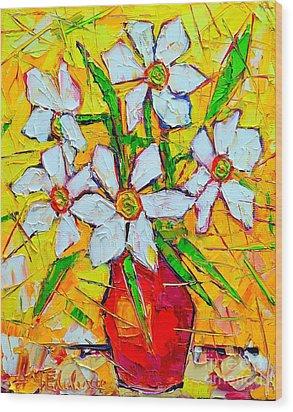 White Daffodils  Wood Print by Ana Maria Edulescu