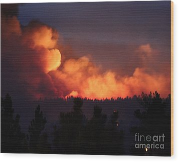 Wood Print featuring the photograph White Draw Fire First Night by Bill Gabbert