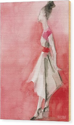 White Dress With Red Belt Fashion Illustration Art Print Wood Print by Beverly Brown Prints